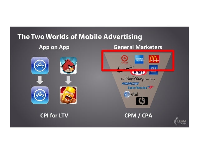 CPI  for  LTV   App  on  App   The Two Worlds of Mobile Advertising CPM  /  CPA   General  Marketers ...