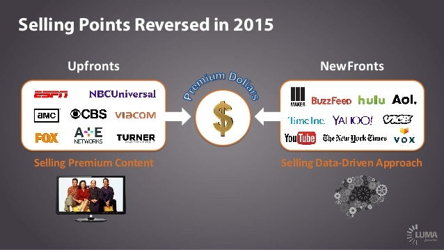 Selling Points Reversed in 2015 Selling  Data-‐Driven  Approach   Selling  Premium  Content   Upfronts   Ne...