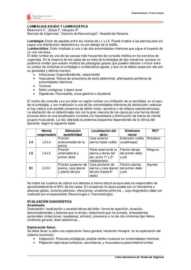 Traumatología y Neurocirugía Libro electrónico de Temas de Urgencia LUMBALGIA AGUDA Y LUMBOCIÁTICA Beaumont C1 , Zazpe I2 ...