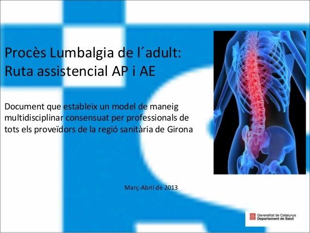 Procès Lumbalgia de l´adult: Ruta assistencial AP i AE Document que estableix un model de maneig multidisciplinar consensu...
