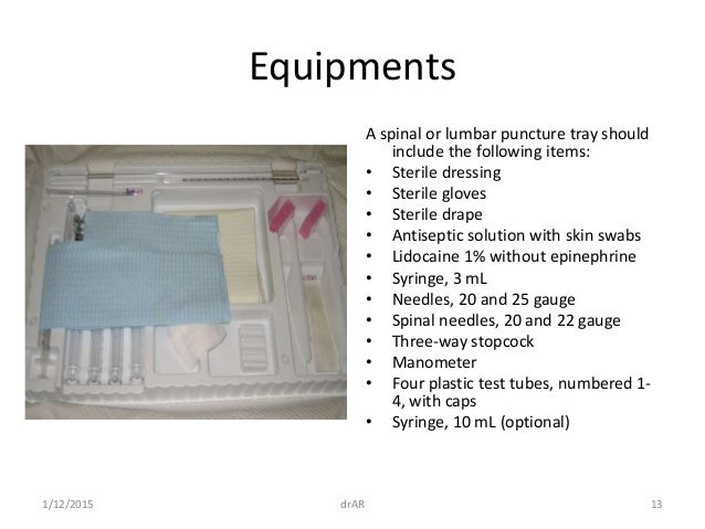 Lumbar puncture 13 equipments a spinal or lumbar puncture pronofoot35fo Choice Image