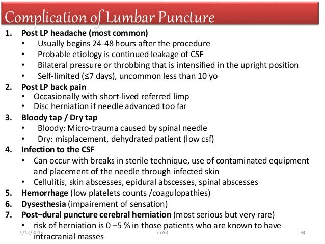 Lumbar puncture 34 complication of lumbar puncture pronofoot35fo Choice Image