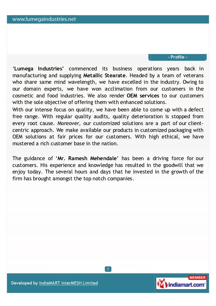 Lumega Industries, Mumbai,Metallic Sterates. Slide 2