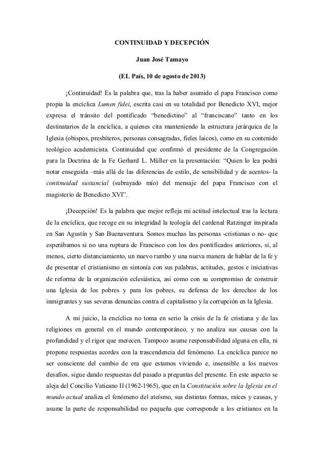 CONTINUIDAD Y DECEPCIÓN Juan José Tamayo (EL País, 10 de agosto de 2013) ¡Continuidad! Es la palabra que, tras la haber as...