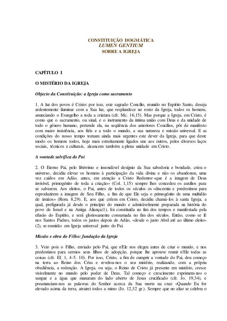 CONSTITUIÇÃO DOGMÁTICA                                   LUMEN GENTIUM                                    SOBRE A IGREJACA...