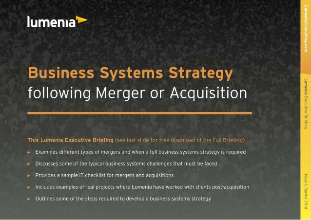 Lumenia Executive Briefing - Business Systems Strategy following Merger or Acquisition