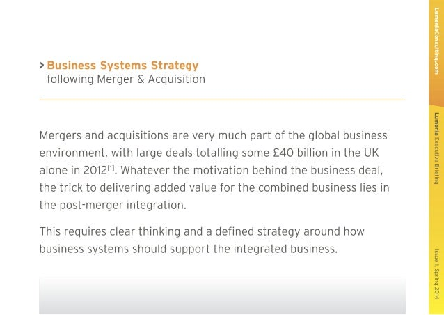 Lumenia Executive Briefing - Business Systems Strategy following Merger or Acquisition Slide 2