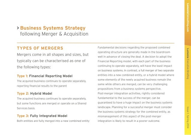 Lumenia Executive Briefing - Business Systems Strategy following Merger or Acquisition Slide 3