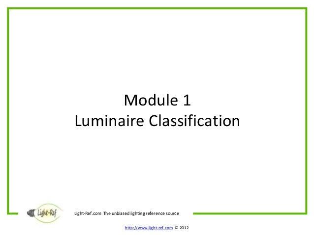 Luminaires – Module 1 Classification Slide 3