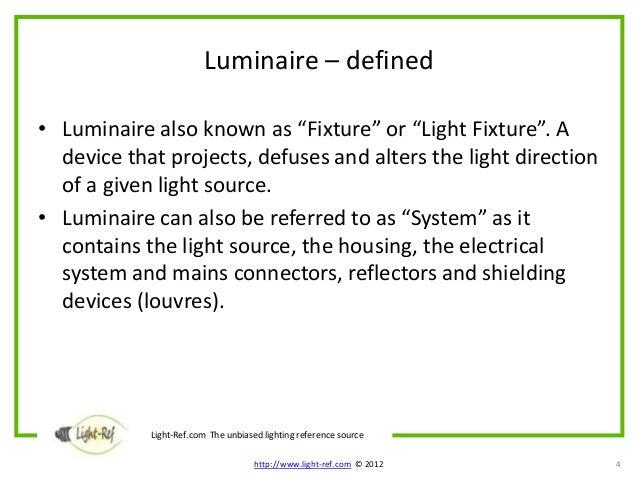 Luminaire définition