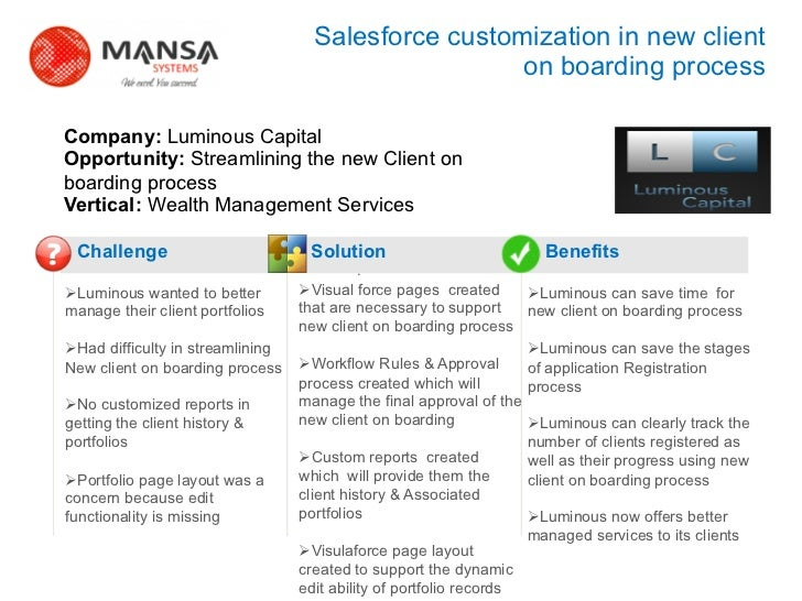 Salesforce customization in new client                                                           on boarding process    Co...