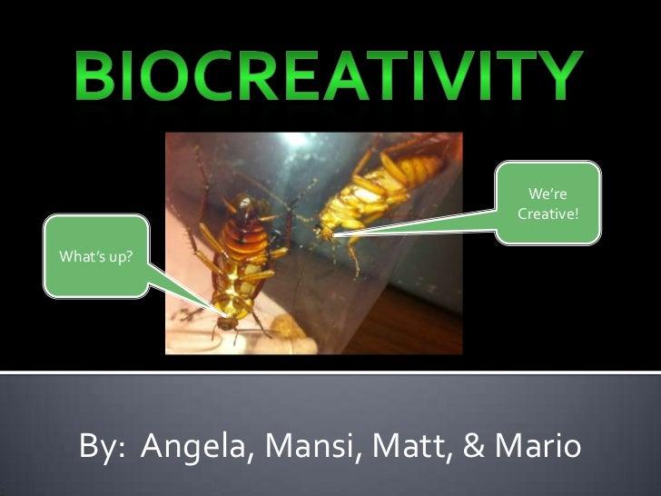 BioCreativity<br />We're<br />Creative!<br />What's up?<br />By:  Angela, Mansi, Matt, & Mario<br />