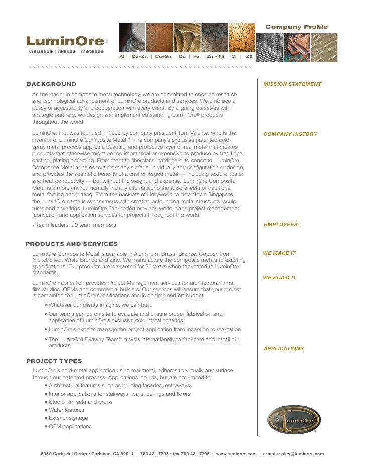 Company Profile  LuminOre                         ®  visualize   realize   metalize                                       ...