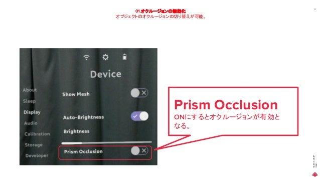 MAGIC LEAP 2021 01.オクルージョンの無効化 オブジェクトのオクルージョンの切り替えが可能。 11 Prism Occlusion ONにするとオクルージョンが有効と なる。