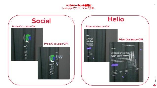 MAGIC LEAP 2021 01.オクルージョンの無効化 Landscapeアプリケーションも対象。 12 Prism Occlusion ON Prism Occlusion OFF Prism Occlusion ON Prism Oc...