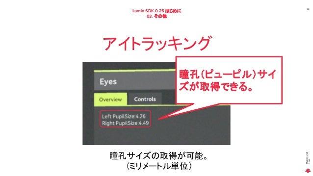 MAGIC LEAP 2021 Lumin SDK 0.25 はじめに 03. その他 36 アイトラッキング 瞳孔サイズの取得が可能。 (ミリメートル単位) 瞳孔(ピューピル)サイ ズが取得できる。