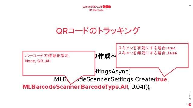 MAGIC LEAP 2021 Lumin SDK 0.25 新機能 01. Barcode 43 QRコードのトラッキング MLBarcode の 設定情報の作成~設定まで MLBarcodeScanner.SetSettingsAsync(...