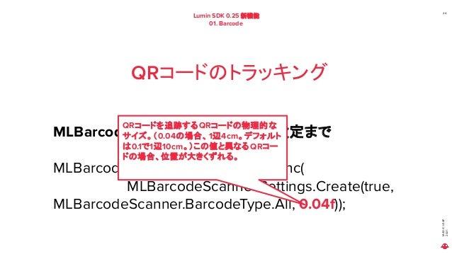 MAGIC LEAP 2021 Lumin SDK 0.25 新機能 01. Barcode 44 QRコードのトラッキング MLBarcode の 設定情報の作成~設定まで MLBarcodeScanner.SetSettingsAsync(...
