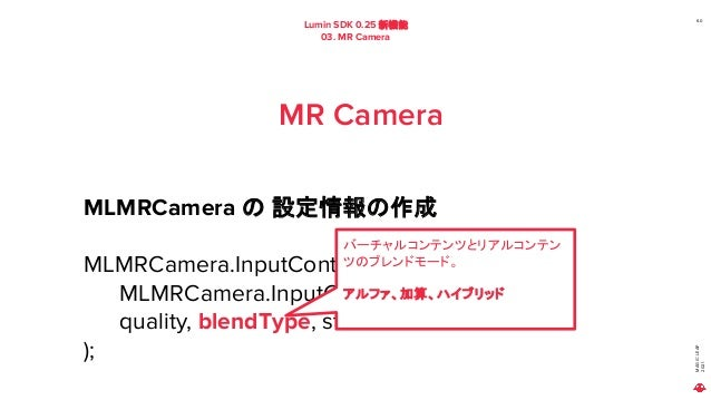 MAGIC LEAP 2021 Lumin SDK 0.25 新機能 03. MR Camera 60 MR Camera MLMRCamera の 設定情報の作成 MLMRCamera.InputContext inputContect = ...