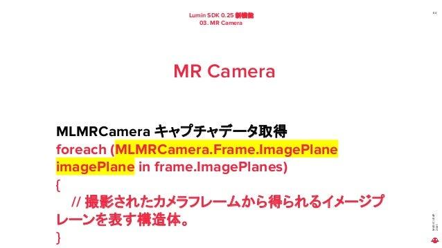 MAGIC LEAP 2021 Lumin SDK 0.25 新機能 03. MR Camera 64 MR Camera MLMRCamera キャプチャデータ取得 foreach (MLMRCamera.Frame.ImagePlane i...