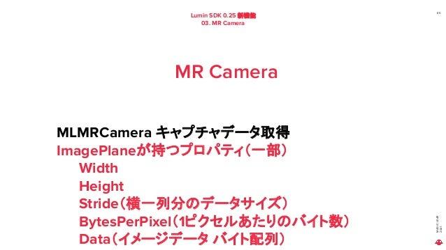 MAGIC LEAP 2021 Lumin SDK 0.25 新機能 03. MR Camera 65 MR Camera MLMRCamera キャプチャデータ取得 ImagePlaneが持つプロパティ(一部) Width Height St...