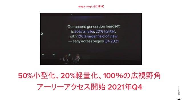 MAGIC LEAP 2021 Magic Leap 2 について 50%小型化、20%軽量化、100%の広視野角 アーリーアクセス開始 2021年Q4 79
