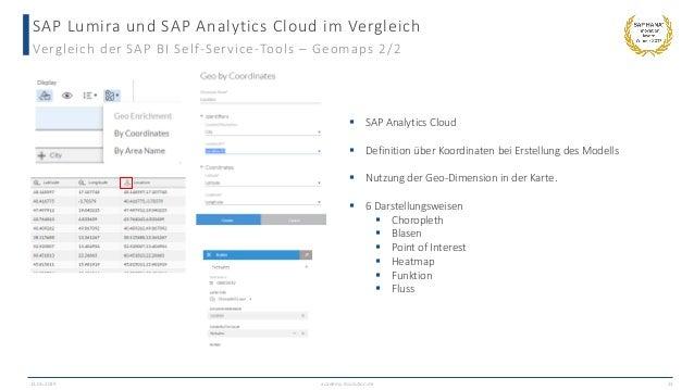 SAP Lumira und SAP Analytics Cloud im Vergleich Vergleich der SAP BI Self-Service-Tools – Geomaps 2/2 13.06.2019 academy.i...