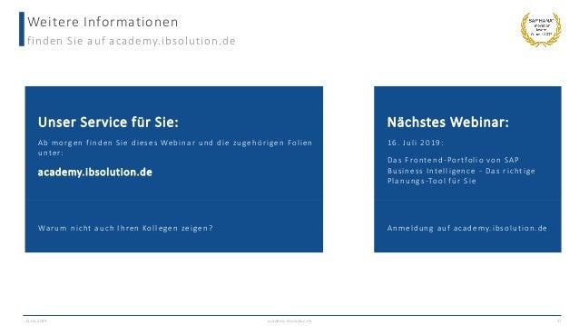Weitere Informationen finden Sie auf academy.ibsolution.de Unser Service für Sie: Ab morgen finden Sie dieses Webinar und ...