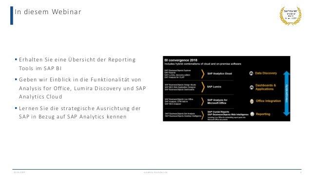 In diesem Webinar  Erhalten Sie eine Übersicht der Reporting Tools im SAP BI  Geben wir Einblick in die Funktionalität v...