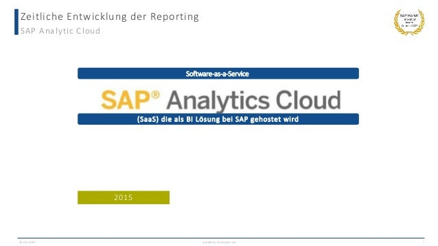 Zeitliche Entwicklung der Reporting SAP Analytic Cloud 13.06.2019 academy.ibsolution.de 7 (SaaS) die als BI Lösung bei SAP...