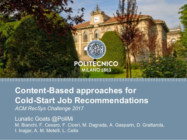 Titolo presentazione sottotitolo Milano, XX mese 20XX Content-Based approaches for Cold-Start Job Recommendations ACM RecS...