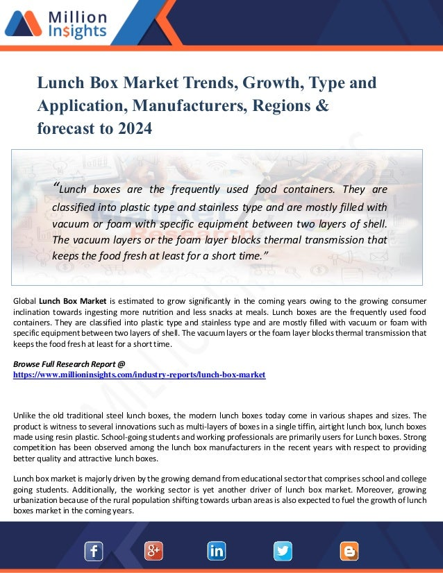 Lunch Box Market Growth Rate, Key players, Region, Suppliers