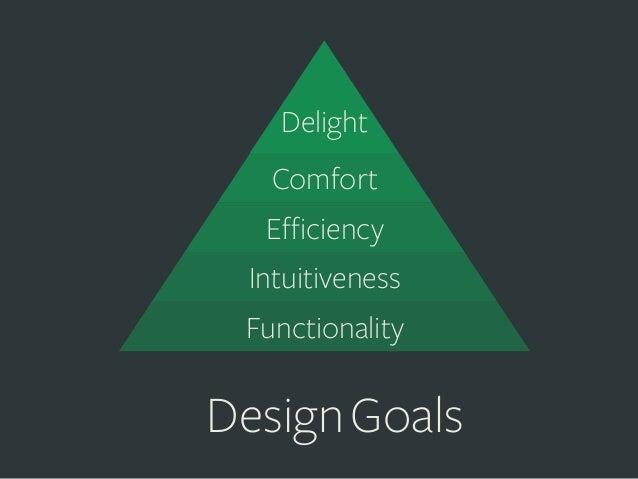 Delight Comfort Efficiency Intuitiveness     Functionality  Design Goals