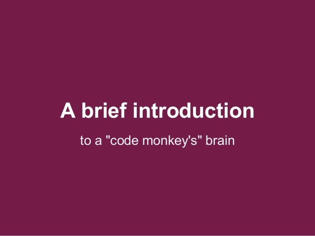 """A brief introduction to a """"code monkey's"""" brain"""