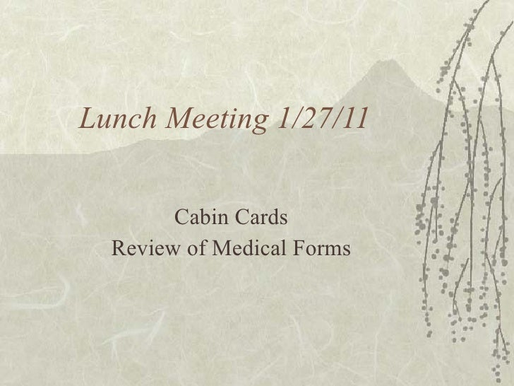 Lunch Meeting 1/27/11 Cabin Cards Review of Medical Forms