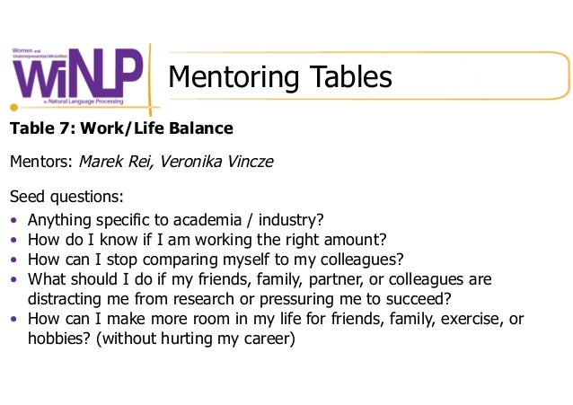 Mentoring Tables Table 7: Work/Life Balance Mentors: Marek Rei, Veronika Vincze Seed questions: • Anything specific to ac...