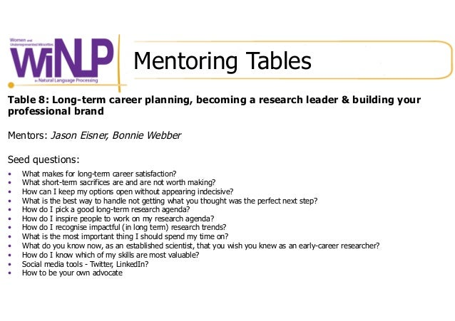 Mentoring Tables Table 8: Long-term career planning, becoming a research leader & building your professional brand Mentors...