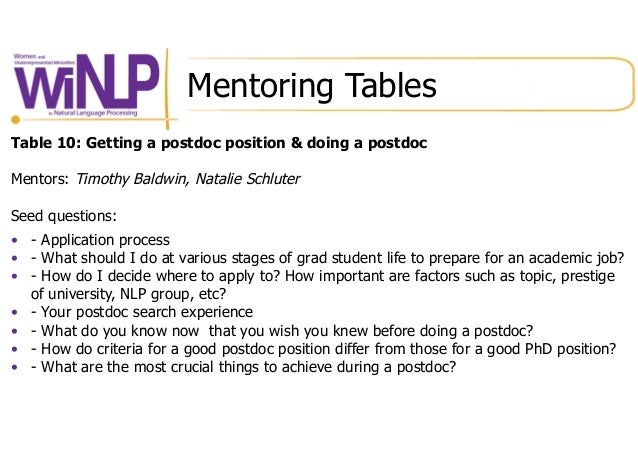 Mentoring Tables Table 10: Getting a postdoc position & doing a postdoc Mentors: Timothy Baldwin, Natalie Schluter Seed qu...