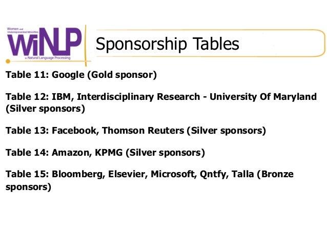 Sponsorship Tables Table 11: Google (Gold sponsor) Table 12: IBM, Interdisciplinary Research - University Of Maryland (Sil...
