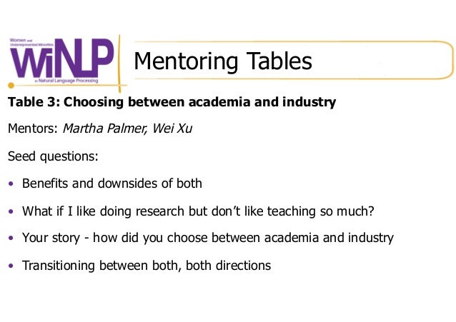 Mentoring Tables Table 3: Choosing between academia and industry Mentors: Martha Palmer, Wei Xu Seed questions: • Benefit...