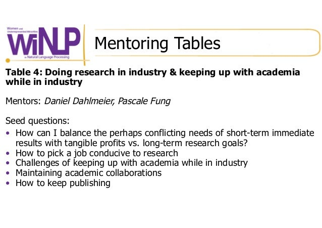 Mentoring Tables Table 4: Doing research in industry & keeping up with academia while in industry Mentors: Daniel Dahlmeie...