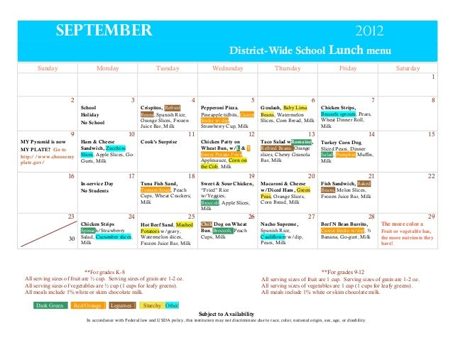 September  2012 District-Wide School Lunch menu  Sunday  Monday  Tuesday  Wednesday  Thursday  Friday  Saturday 1  2  3  4...