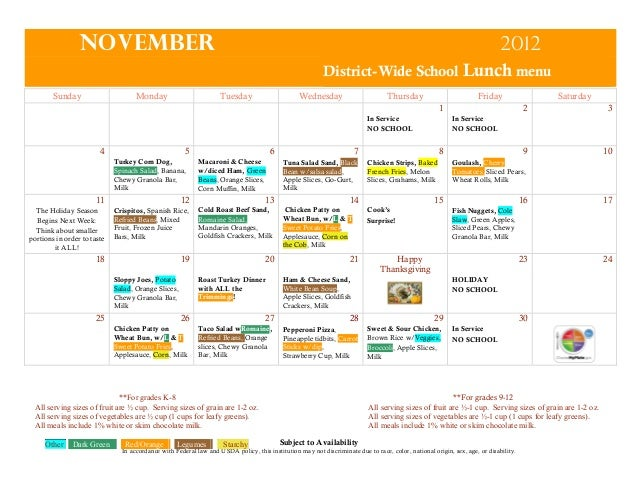 November  2012 District-Wide School Lunch menu  Sunday  Monday  Tuesday  Wednesday  Thursday  Friday 1  In Service NO SCHO...