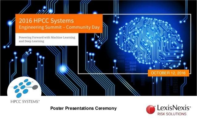 OCTOBER 12, 2016 Poster Presentations Ceremony
