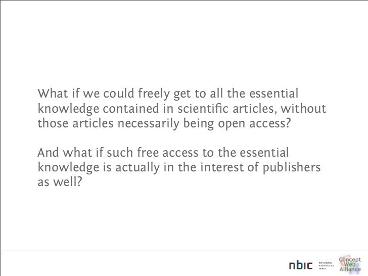 What if we could freely get to all the essential knowledge contained in scientific articles, without those articles necessa...
