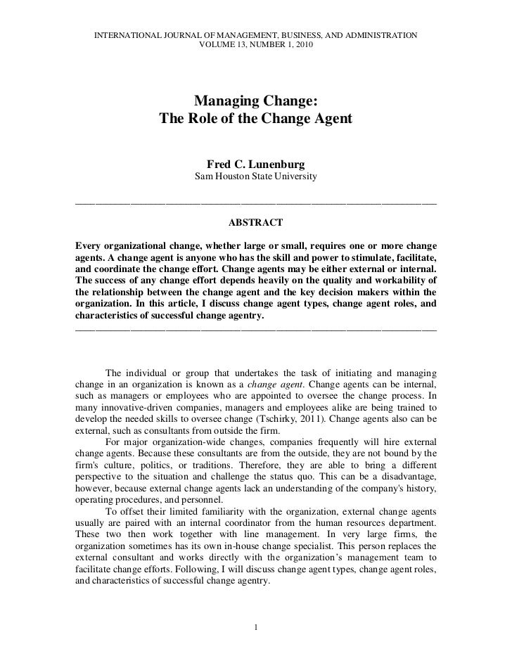 INTERNATIONAL JOURNAL OF MANAGEMENT, BUSINESS, AND ADMINISTRATION                        VOLUME 13, NUMBER 1, 2010        ...