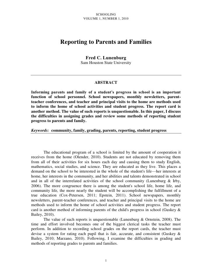SCHOOLING                               VOLUME 1, NUMBER 1, 2010                 Reporting to Parents and Families        ...