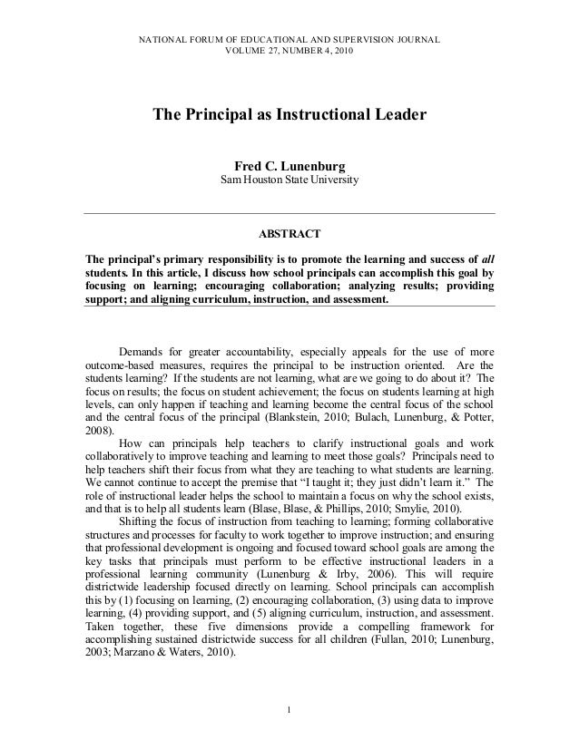 NATIONAL FORUM OF EDUCATIONAL AND SUPERVISION JOURNAL VOLUME 27, NUMBER 4, 2010 1 The Principal as Instructional Leader Fr...