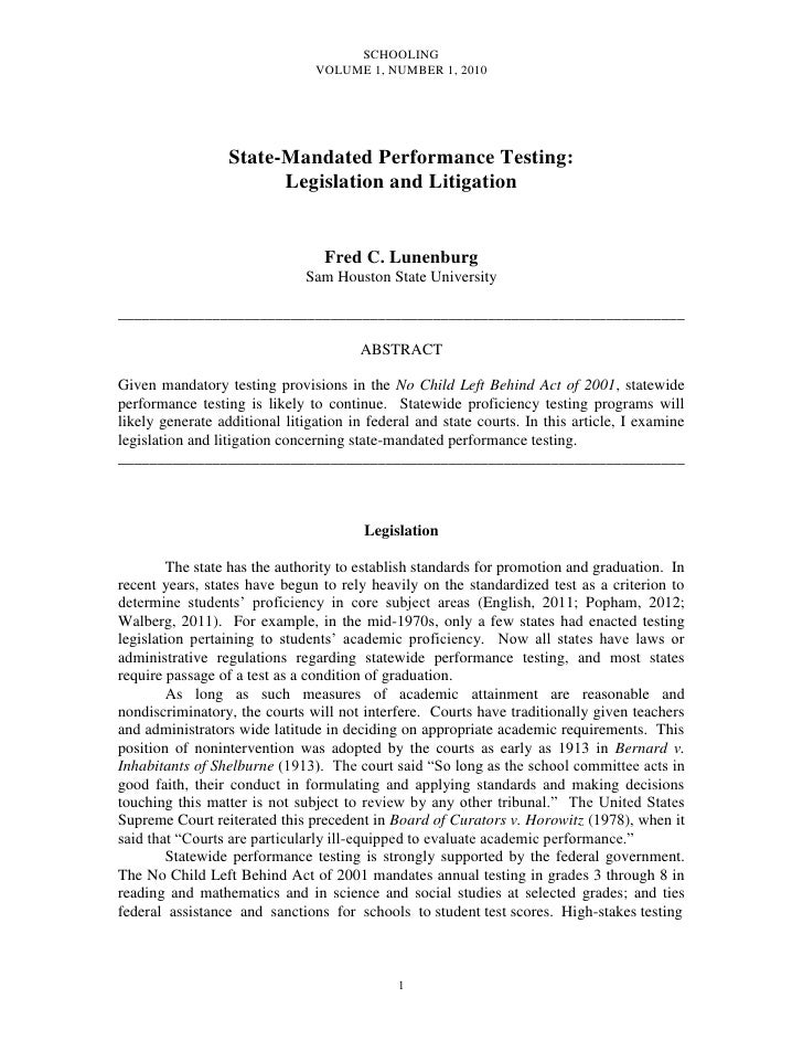 SCHOOLING                                VOLUME 1, NUMBER 1, 2010                  State-Mandated Performance Testing:    ...