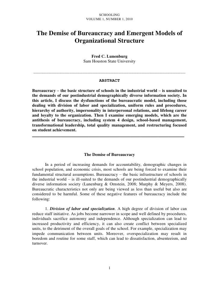 SCHOOLING                               VOLUME 1, NUMBER 1, 2010  The Demise of Bureaucracy and Emergent Models of        ...